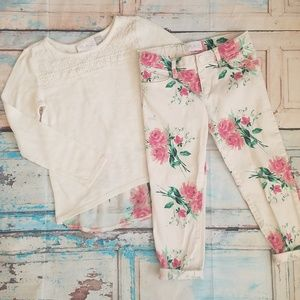 Size 5 sweater and floral jeans set